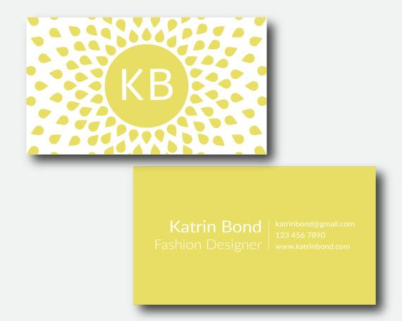 Business Card Photoshop Template Yellow Business Card Personal - Business cards photoshop templates