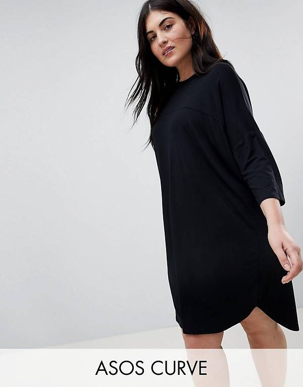 Vestido estilo camiseta extragrande con detalle de costuras de ASOS CURVE |  CURVAS SIZE PLUS | Pinterest | Asos curve, Curves and Detail