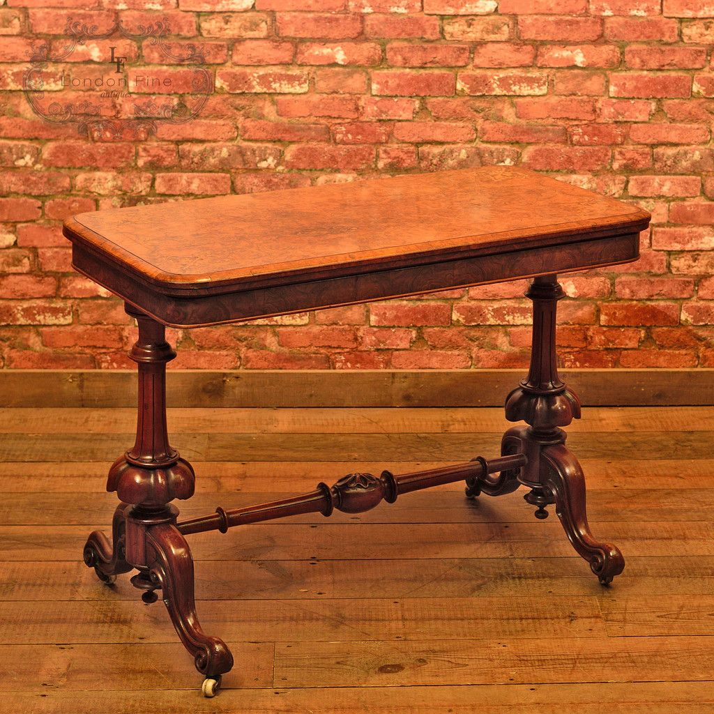 victorian burr walnut fold over card table c 1840 antique tables