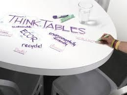 An innovative ECOR furniture piece is the Think Table. Perfect for an office, a kid's playroom or even as your kitchen table, it's similar to a dry-erase board where you can draw or brainstorm any thoughts or ideas, plus you can flip it from a horizontal to a vertical orientation as well as raise or lower its height. The table comes in different shapes and sizes.
