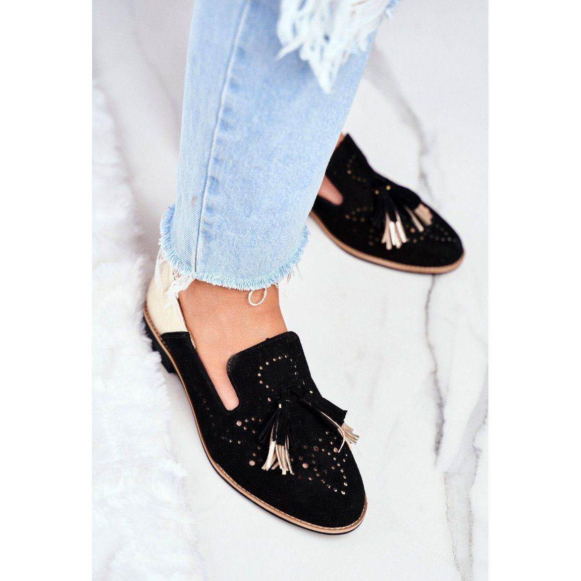 Damskie Polbuty Maciejka Skorzane Mokasyny Czarne 04484 01 00 5 Shoes Mule Shoe Slippers