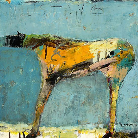 """Mustang Turquoise by Dominique Samyn Print on wood (Giclee) with layer of resin ~ 12"""" x 12"""""""