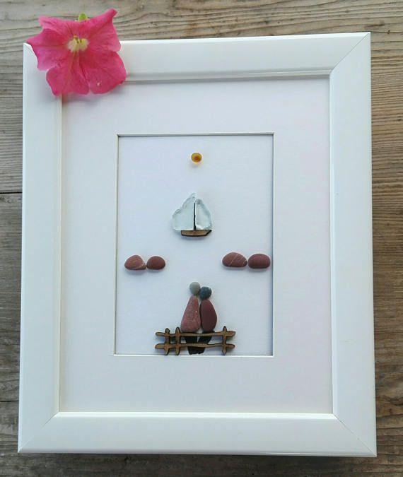 Pebble art couple, Love gift, Home decor, pebble art beach, keepsake ...
