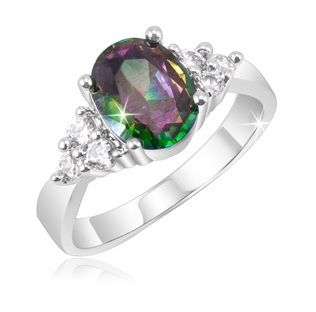2 Carat Mystic Topaz & Crystal Stone Accents Ring in Silver Plating