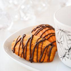Clementine Madeleines Drizzled with Dark Chocolate flavoured with Orange.