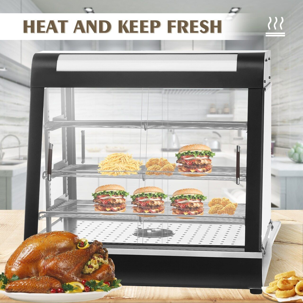26 Commercial Countertop Hot Food Warmer Display Case For Restaurant Heated Cabinet Pizza Empanda Pastry Patty Hot Meals Food Warmer Display Food Warmers