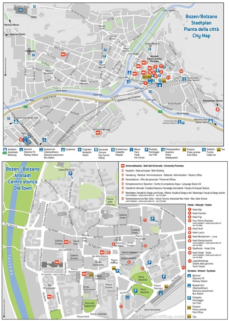 Bolzano hotel map | Maps | Pinterest | Italy and City