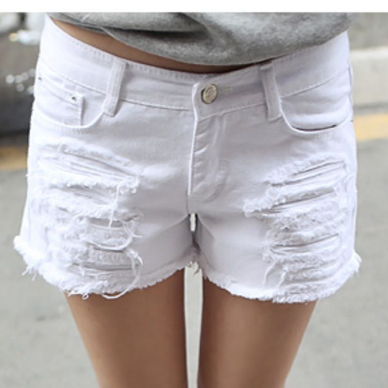 Cheap white denim shorts, Buy Quality ripped jean shorts directly ...