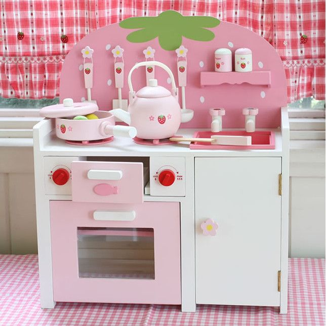 Kids Kitchen Table: Wood Kitchen Kids Baby Toys Cook Strawberry Mother Garden