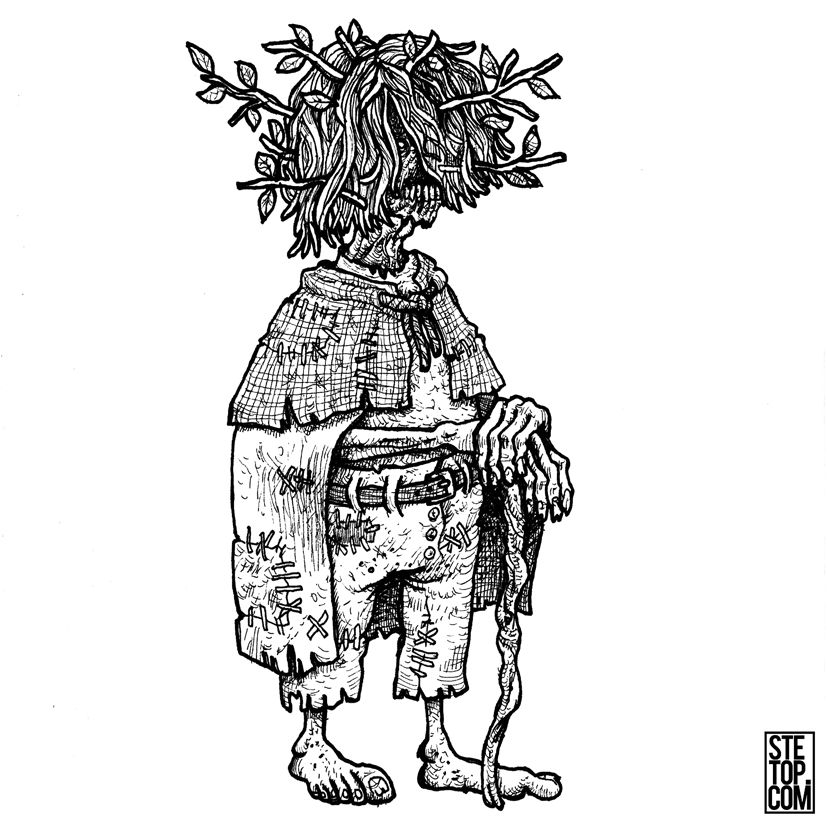Thicket Dweller Line Art Character Design Illustration