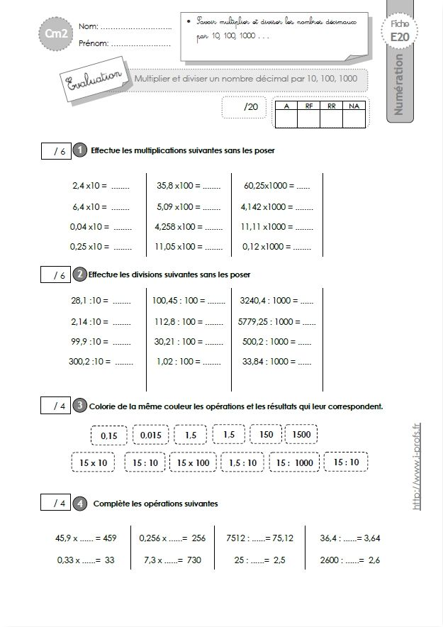 Http www i - Evaluation tables de multiplication cm1 ...