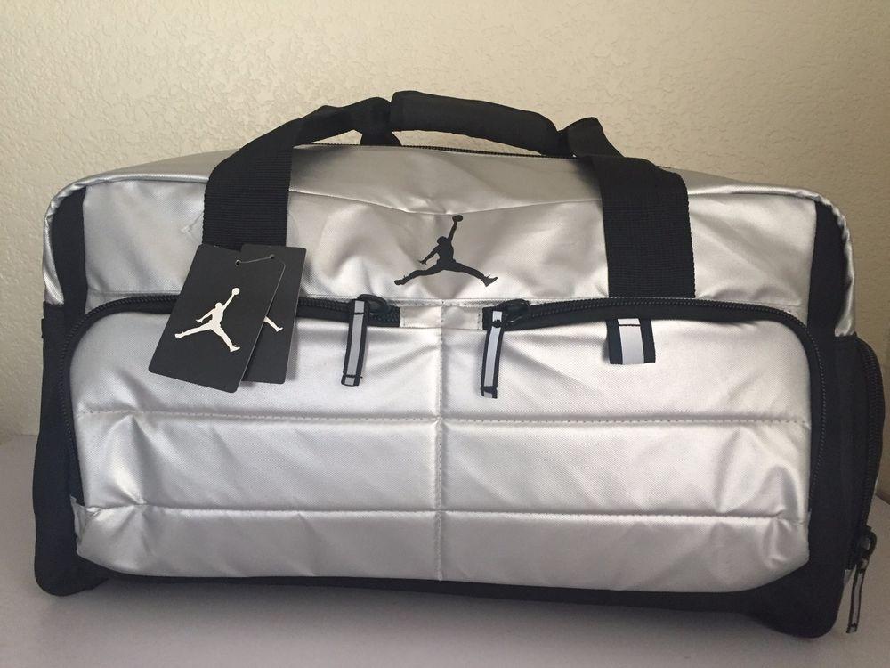 8890fdfe1668ff ... Black and Gray Duffel Gym Bag Sports Tote NIKE Jordan Men Gym Bag  Luggage Jumpman Silver WetDry Shoe Pocket Polyester. Silver ShoesNike Air  Nike ...