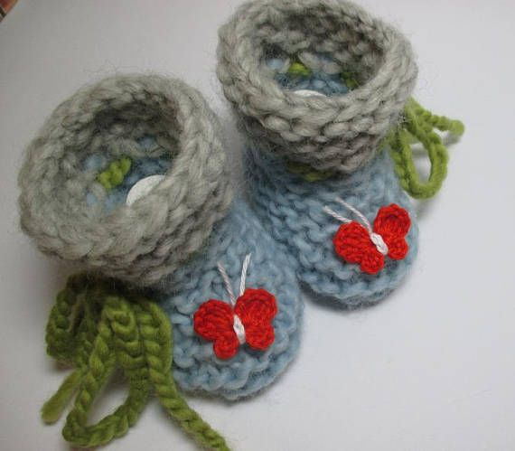 Knitted baby shoes desired size Eco-virgin wool hand knitted