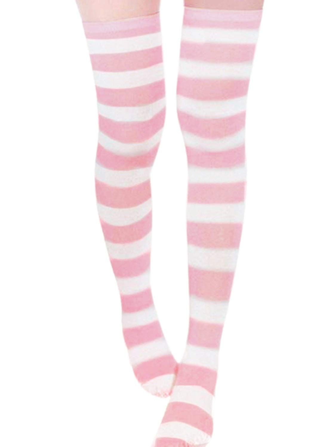 c11d7bace ZANZEA Sexy Lady Over The Knee Thigh High Long Striped Stocking In three  Colours Pink thick
