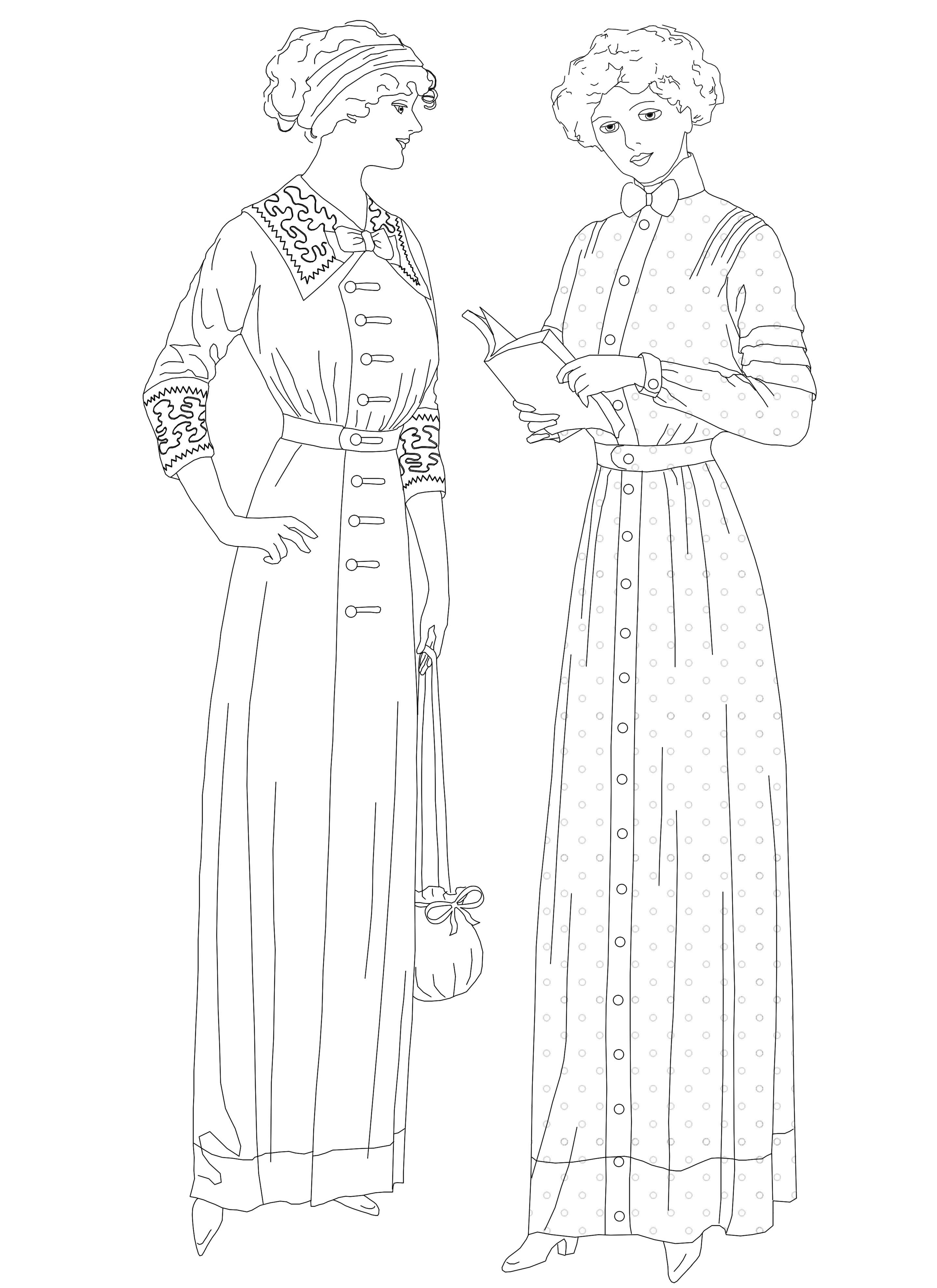 Early 1910s Fashion Coloring Page Fashion Coloring Book Colorful Fashion American Fashion History