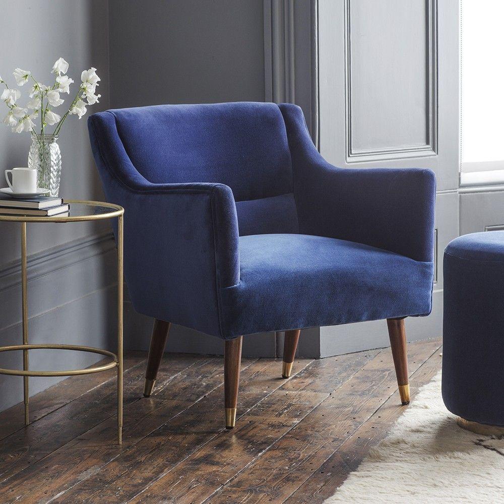 Alresford armchair in navy velvet velvet armchair