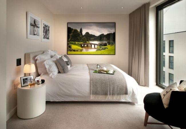 Schlafzimmer Deko Ideen Kleines Schlafzimmer Einrichten Creme Wand Boden  Farbe Wand Deko Ideen