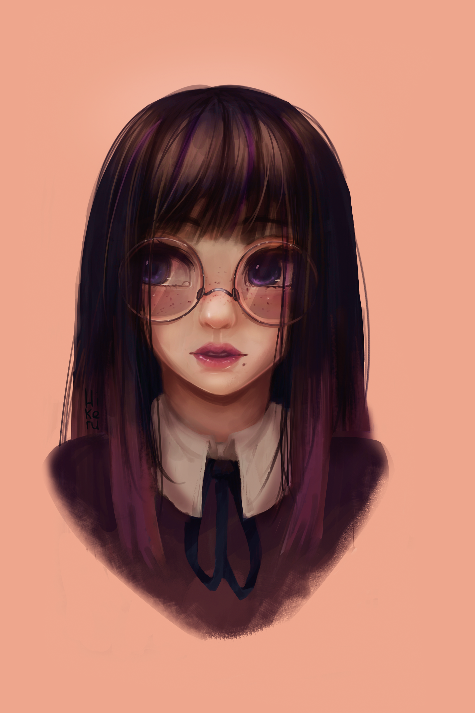 Anime art nerd girl Anime and