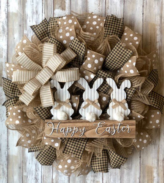 Easter Bunny Wreath- Burlap Deco Mesh- Bow color o