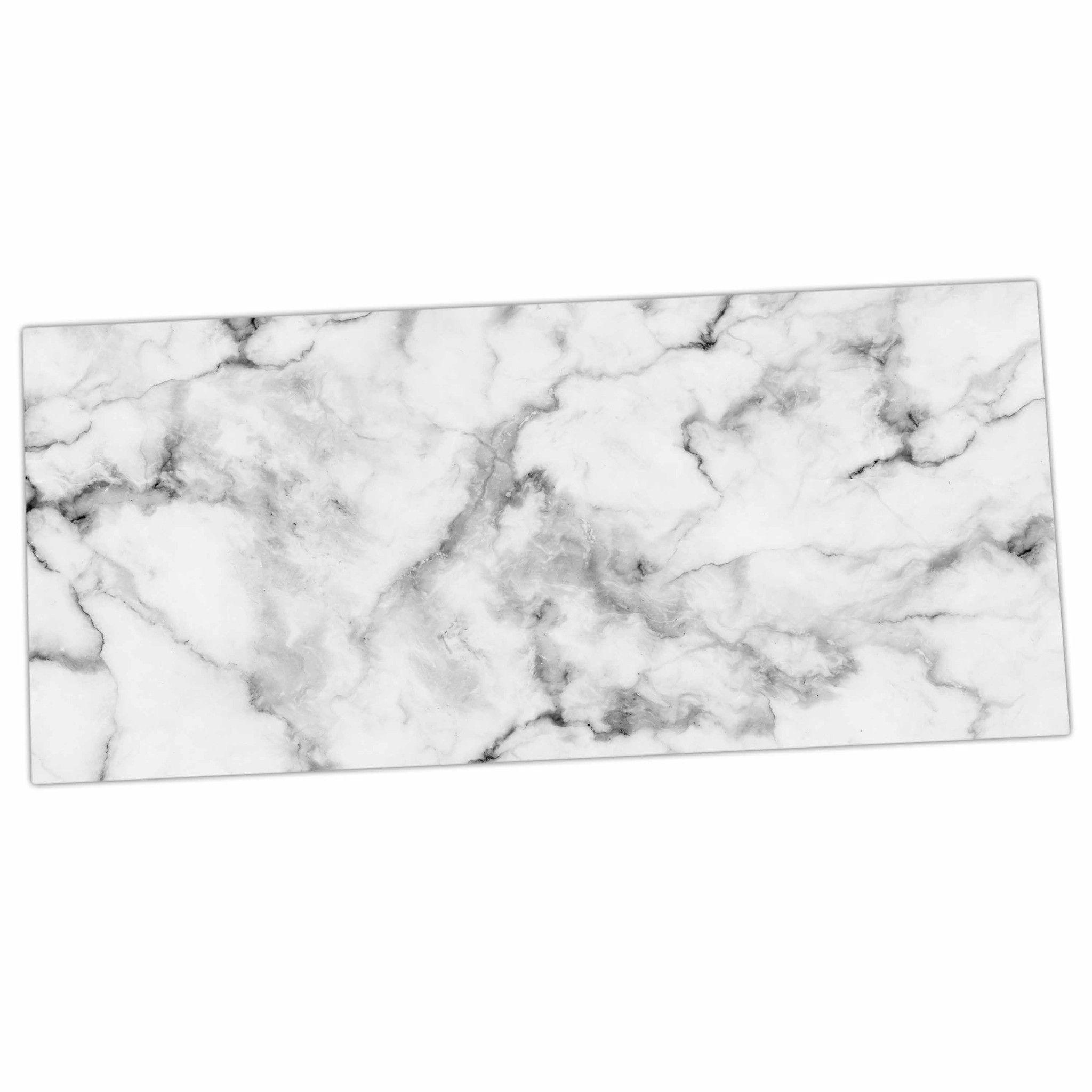 """Kess Original """"White Marble"""" Gray White Desk Mat"""