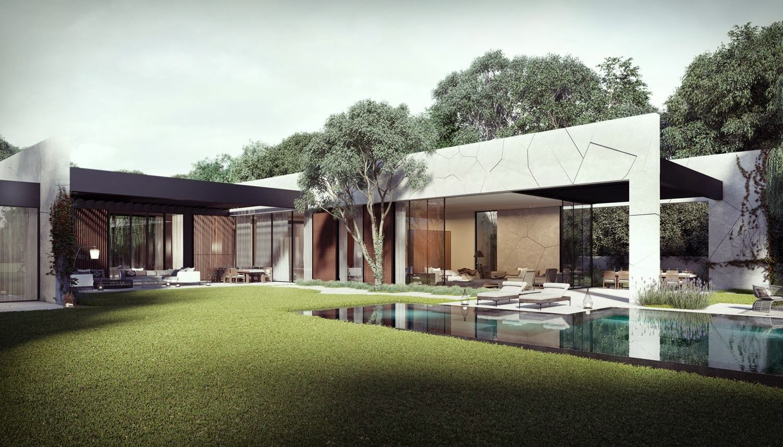 Dise o de casa en forma de l con piscina dise o de casas - Diseno de piscinas ...