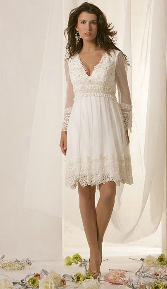 Informal Wedding Dresses For Older Brides: Simple Informal Short Long Sleeve Wedding Dress For Older