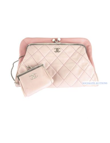 e130e6a273a4 Chanel Pink Clutch with Coin Purse Two Tone Lambskin with Kiss Lock 2009  www.socialiteauctions.com