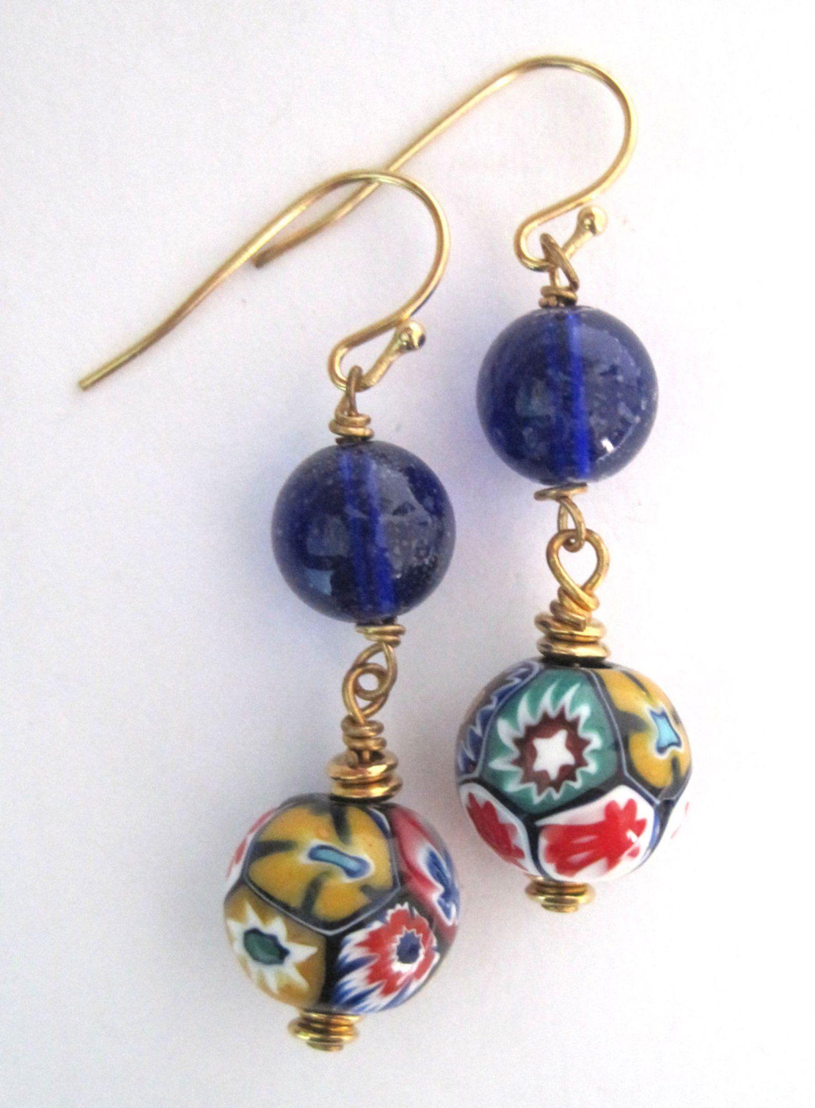 Vintage Blue Italian Millefiori Glass Earrings Venetian Glass In 2020 Venetian Glass Earrings Glass Earrings Murano Glass Earrings