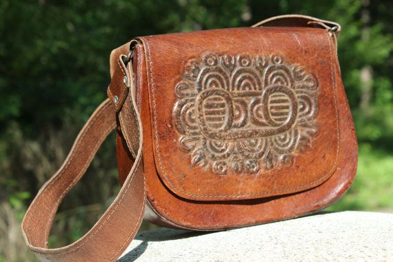 Leather Shoulder Bag  Hand Tooled Leather Bag  Womens by NarMag