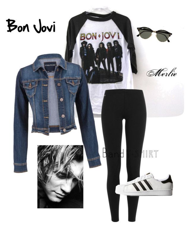 """""""Bon Jovi"""" by mduncan0417 ❤ liked on Polyvore featuring Polo Ralph Lauren, adidas Originals, maurices, Ray-Ban, bandtshirt and bandtee"""