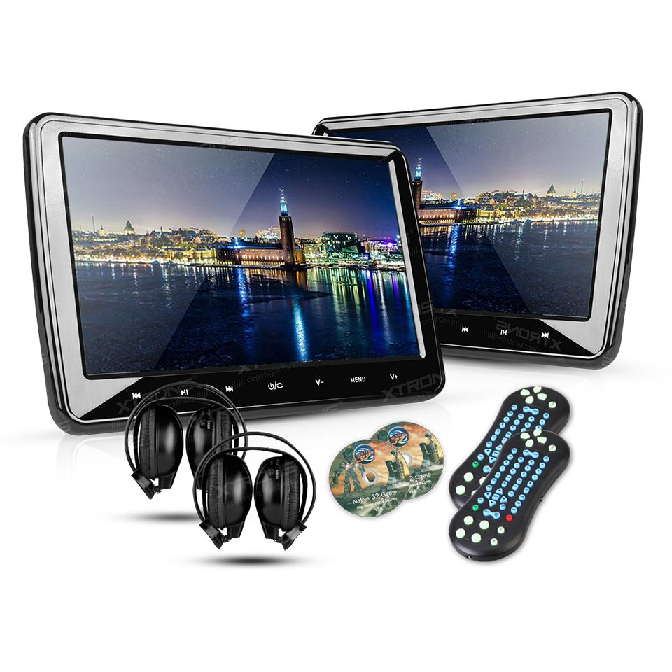2 10 1 portable car headrest dvd player 1024 600 hdmi port hd screen