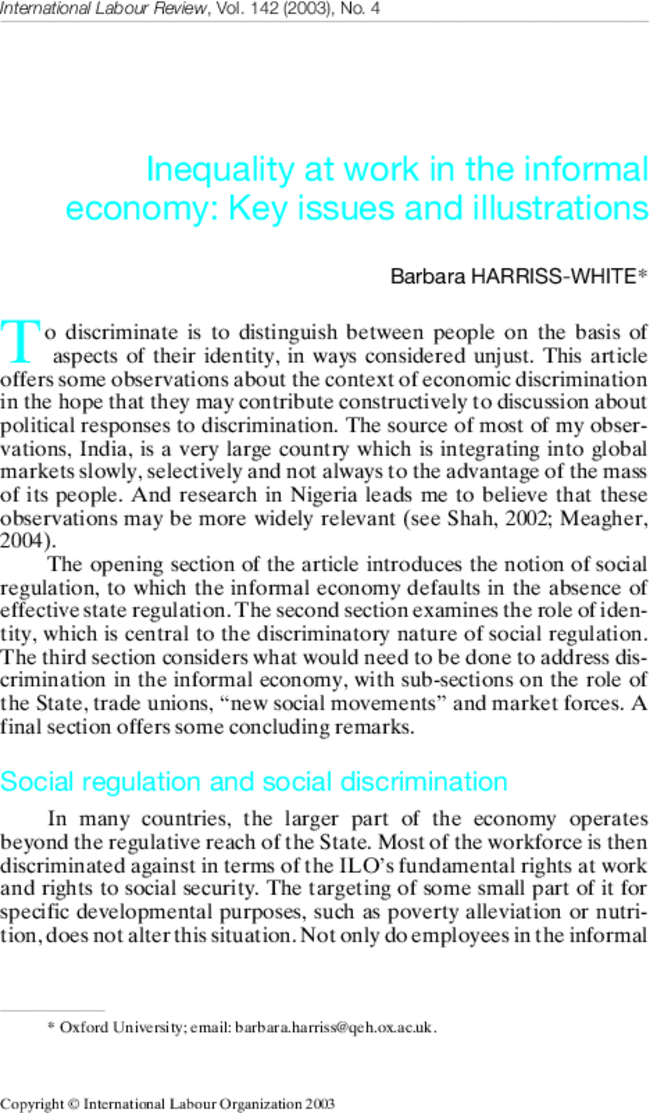 Harriss White Barbara 2003 Inequality At Work In The Informal Economy Key Issues And Illustrations In Inequality Social Development Distinguish Between