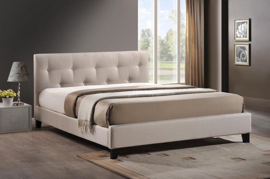 Best Baxton Studio Annette Light Beige Linen Modern Bed With 640 x 480