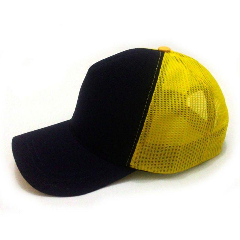 5b14c00684 Boné trucker liso marinho tela amarela com aba em curva