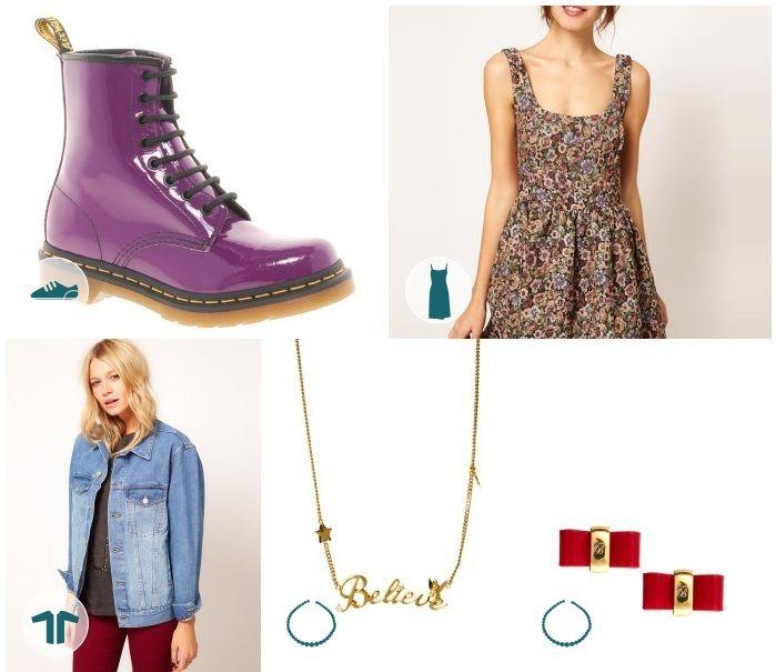 Para las amantes de la moda Punk, este look te encantará. Un vestido estampado y unas botas acordonadas marcarán la diferencia.