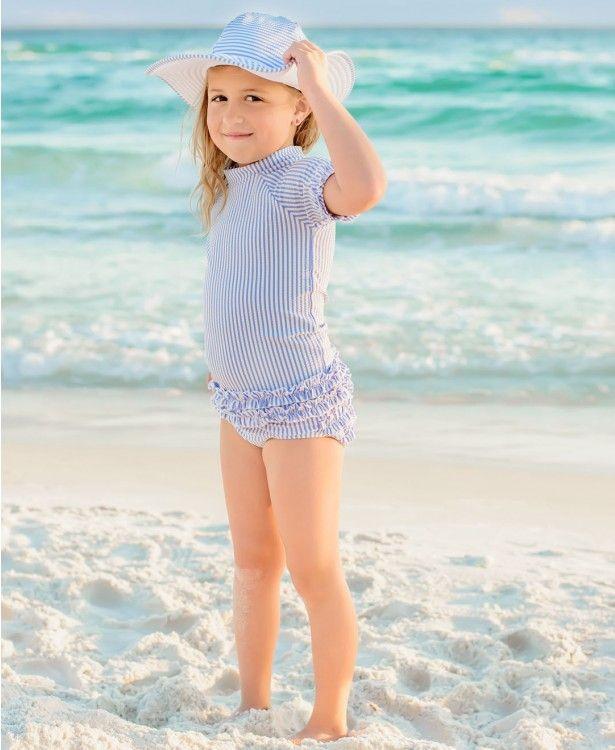 Periwinkle Blue Seersucker Rash Guard Bikini - Rufflebutts.com This  adorable Rash Guard Bikini is a RuffleButts favorite and absolutely the  cutest for this ... a4868b6c7833