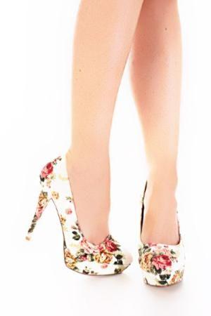 floral printed platform heels