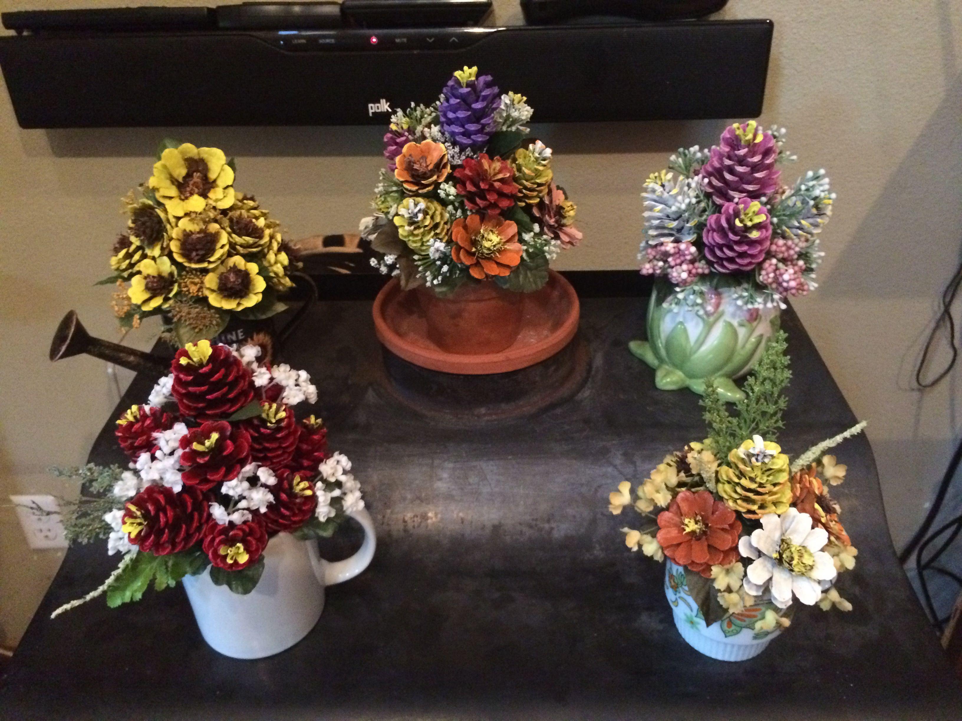 Pinecone Flower Arrangements By Cat Pine Cone Art Pine Cone Crafts Cones Crafts