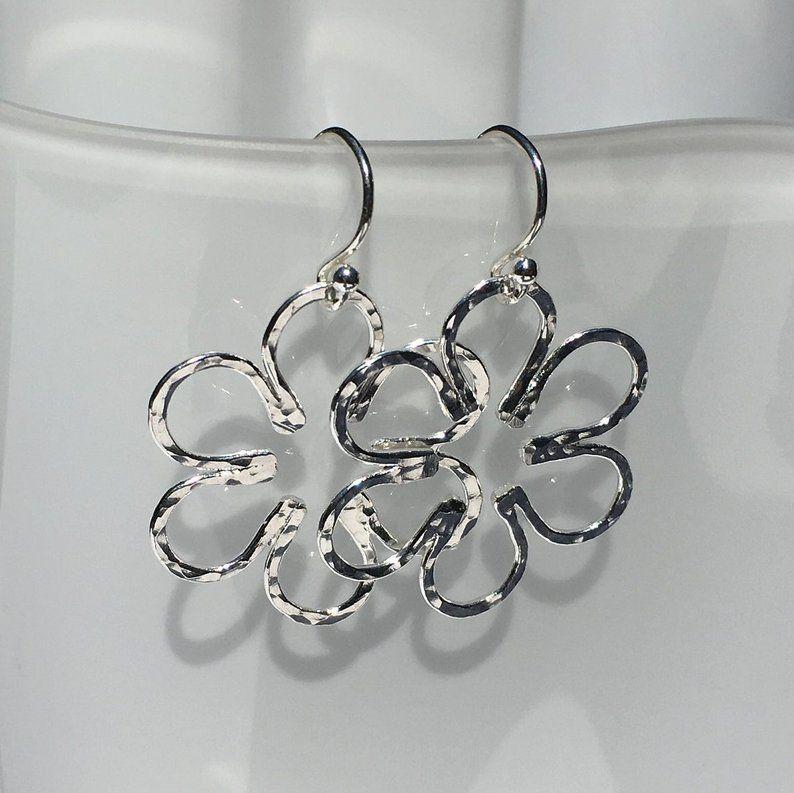 aaacc3cb6 Flower Earrings, Sterling Silver Earrings, Hammered Earring Flowers, Dangle  Earrings, French Hook