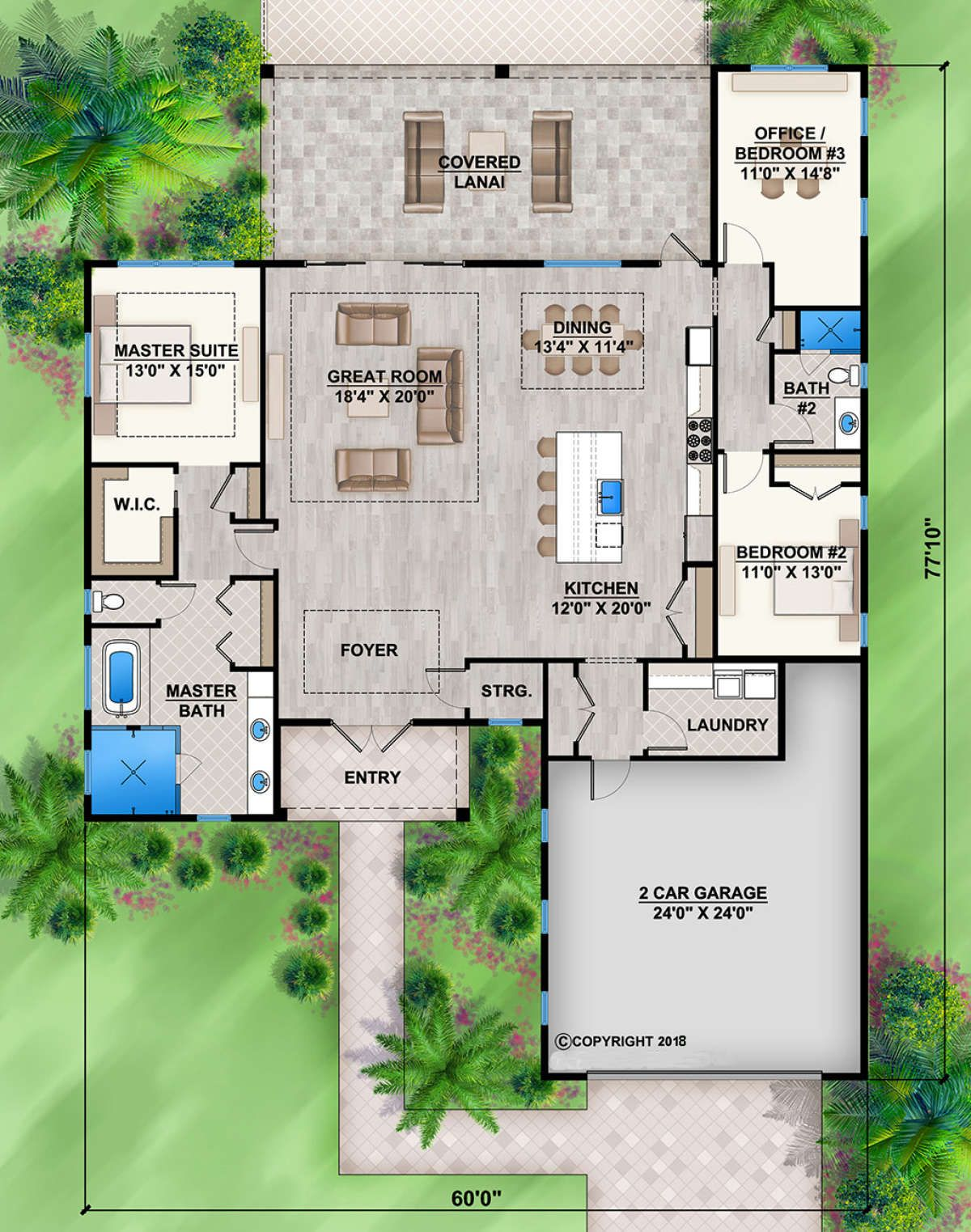 House Plan 207 00070 Florida Plan 2 449 Square Feet 3 Bedrooms 2 Bathrooms Florida House Plans House Construction Plan House Plans