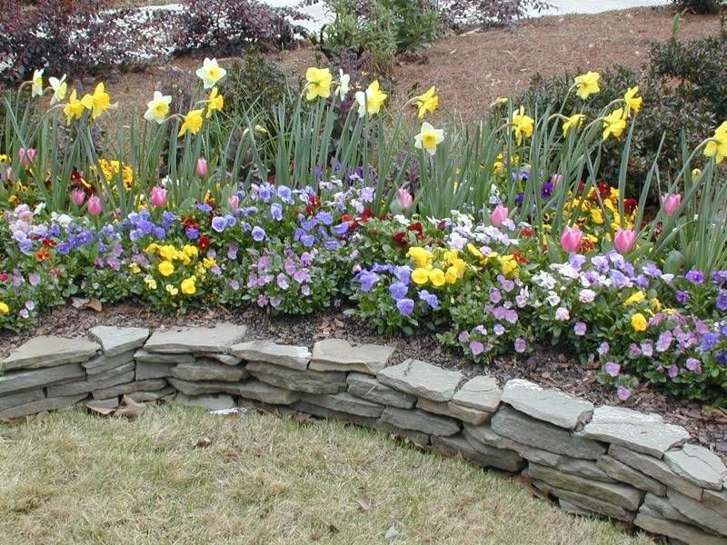 Stacked Stone Flower Bed