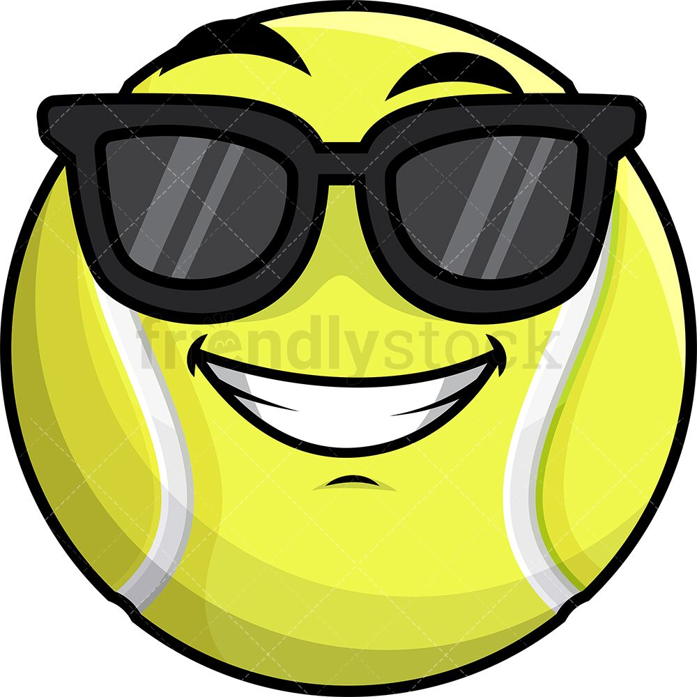 Cool Tennis Ball Wearing Sunglasses Emoji Cartoon Clipart Vector Friendlystock Emoji Sports Emojis Tennis Ball
