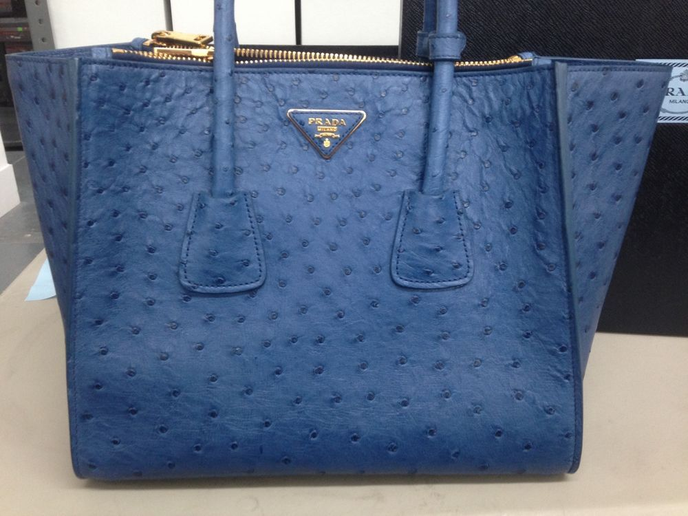 3e62bcce828c Prada Blue Ostrich Leather Struzzo Cobalto Tote Bag Purse BN2619 130 F0215 # PRADA #TotesShoppers