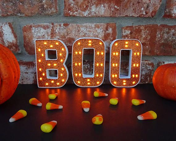 Lighted Halloween Decor Boo Marquee Letters Boo Light Up Letters 4 Inch Marquee Letters Orange Purple Or Black Letters With Images Halloween Decorations Halloween Coloring Light Up Letters