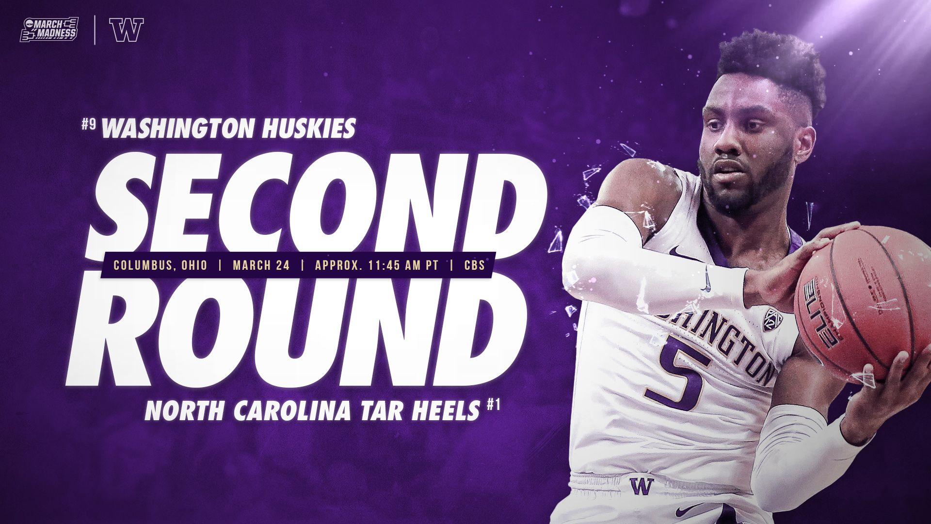 Watch March Madness Second RoundWashington Huskies vs