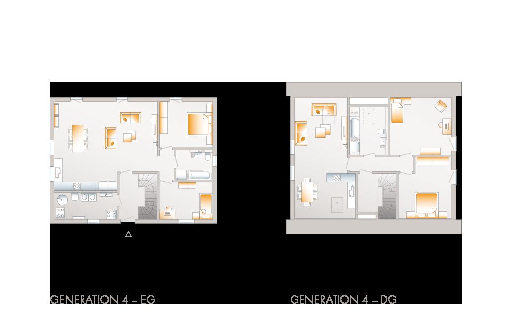 Grundriss des Mehrgenerationen-Fertighaus Generation 4
