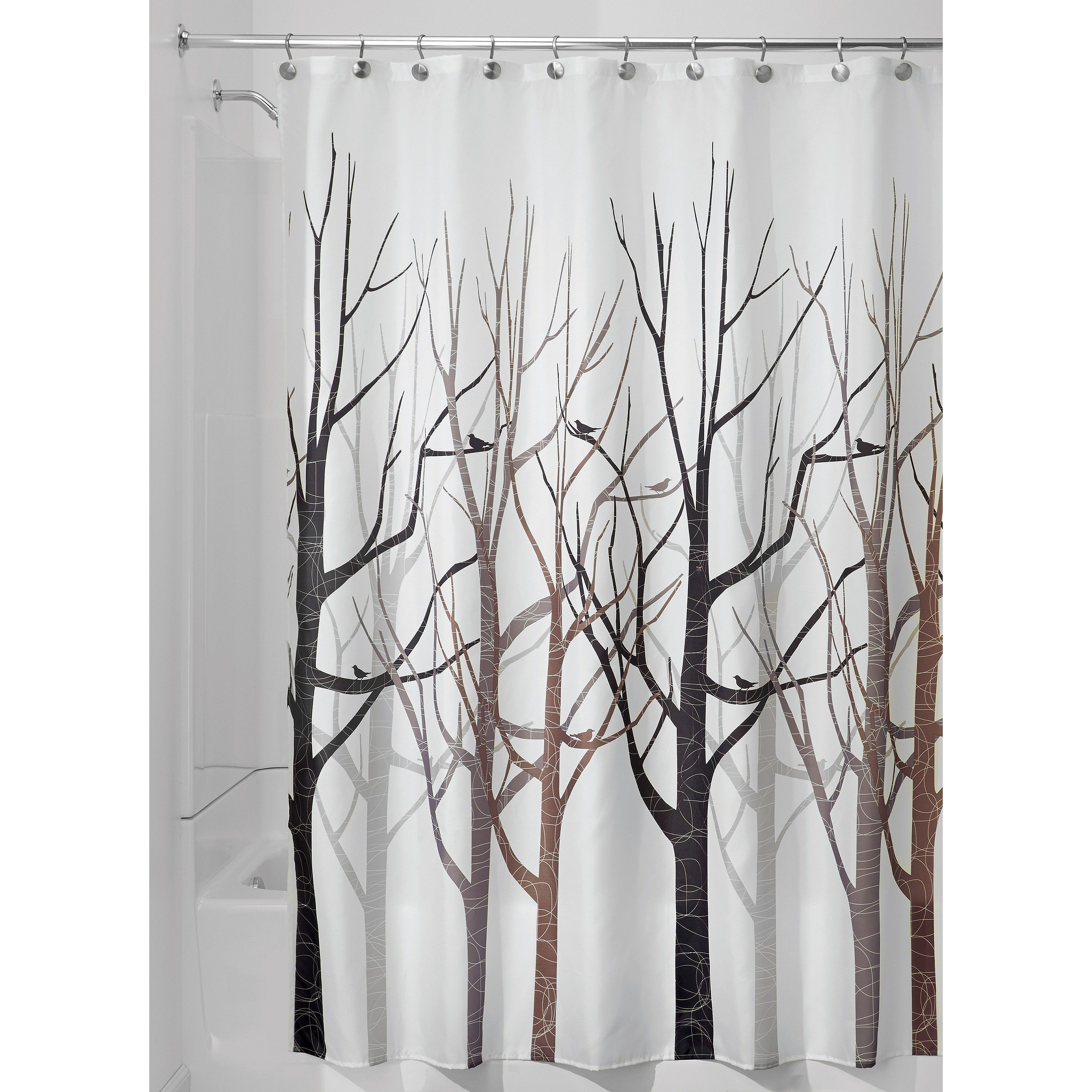 Forest Shower Curtains White Brown Idesign Fabric Shower