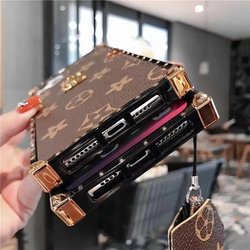 Fashion square metal leather phone case for iphone 11 pro