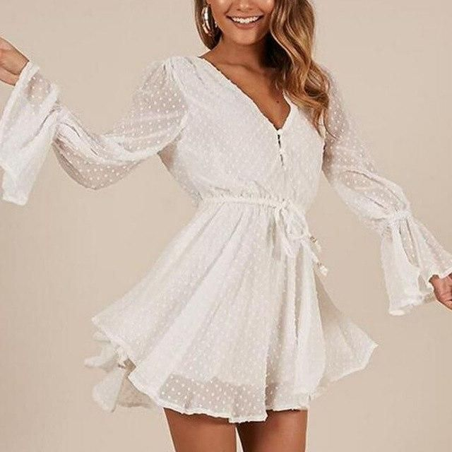 Summer News Loose Playsuits Flare Long Sleeve V-Neck Chiffon Rompers Shorts M-1041 White L #chiffonshorts