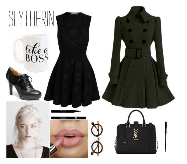 Slytherin - Office look by realslytherinpride on Polyvore featuring Alexander McQueen, Brooks Brothers, Yves Saint Laurent, Sisley, Moon and Lola, harrypotter, slytherin and office
